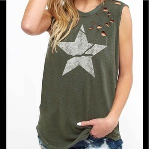 Tops - Distressed Sleeveless Top